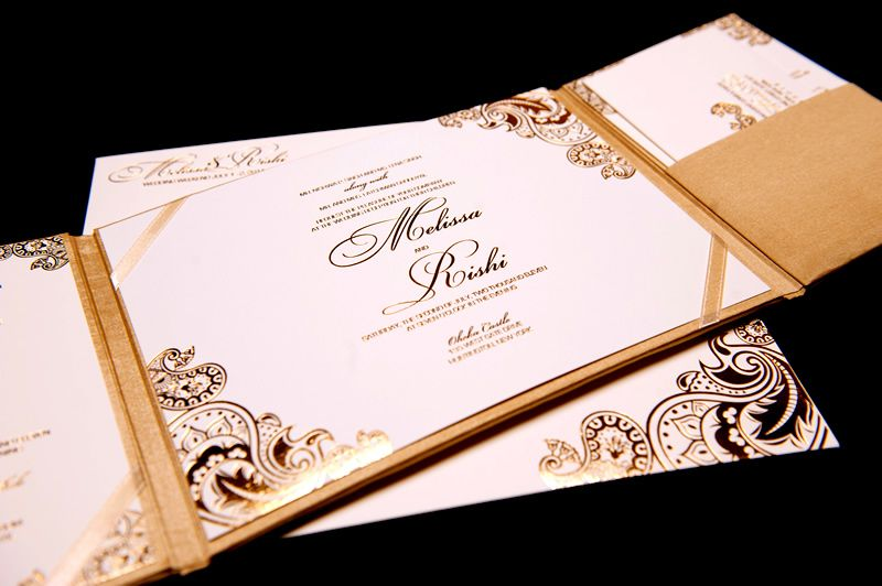 Gold Foil Stamped Wedding Invitations: Gold White Wedding Invitations Foil Stamped