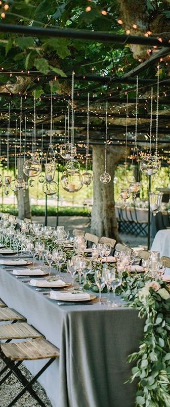 Beautiful Tablescape For A Wedding Love The Greenery Garden And