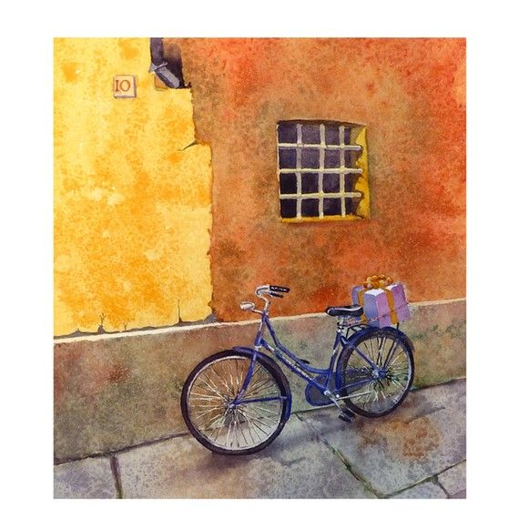 Fine Art Bicycle Watercolor Print Italy