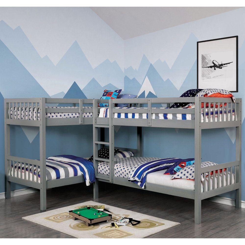 Furniture Of America Jis Modern Twin Solid Wood L Shaped Bunk Bed