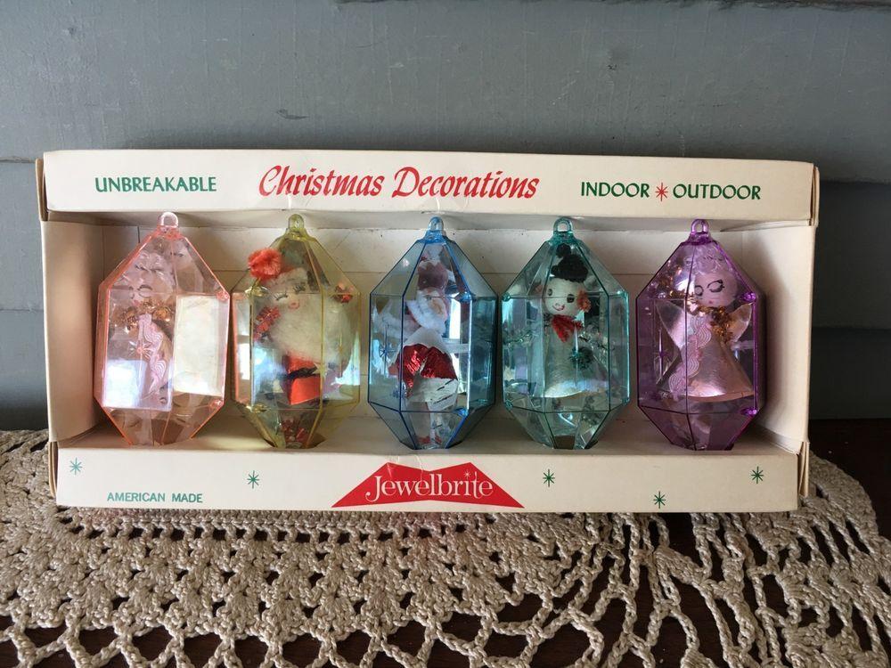 Box Of 5 Vintage Jewelbrite Unbreakable Plastic Christmas Ornaments Jewelbrite Ornament Box Round Ornaments Christmas Decorations