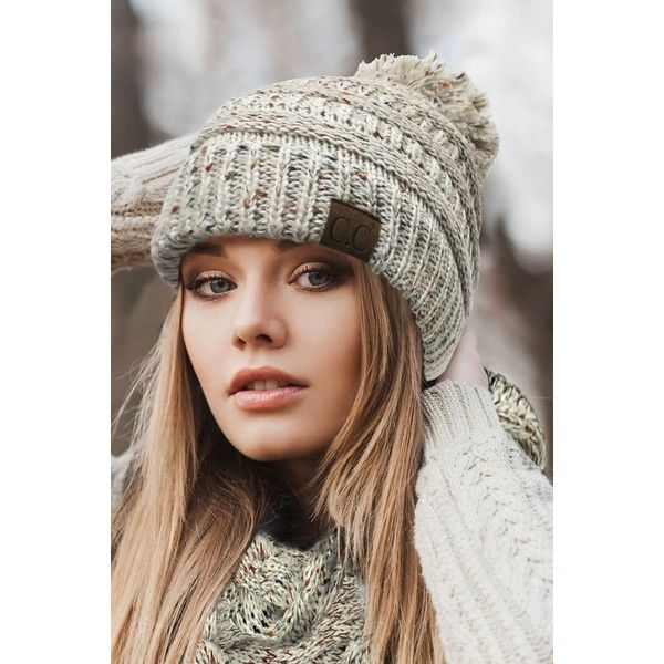 e1d81988682 Ombre Confetti Knit Beanie Hat with Pom Pom by CC ( 13) ❤ liked on Polyvore  featuring accessories