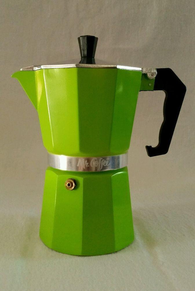 MR COFFEE STOVE TOP ESPRESSO MAKER COFFEE BREWER GREEN 6 POT NEW IN BOX NIB  #MrCoffee