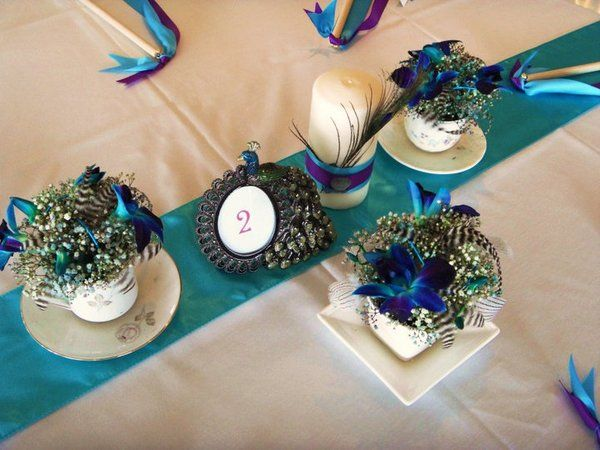 Wedding Reception Decor Table Turquoise Peacock Feathers