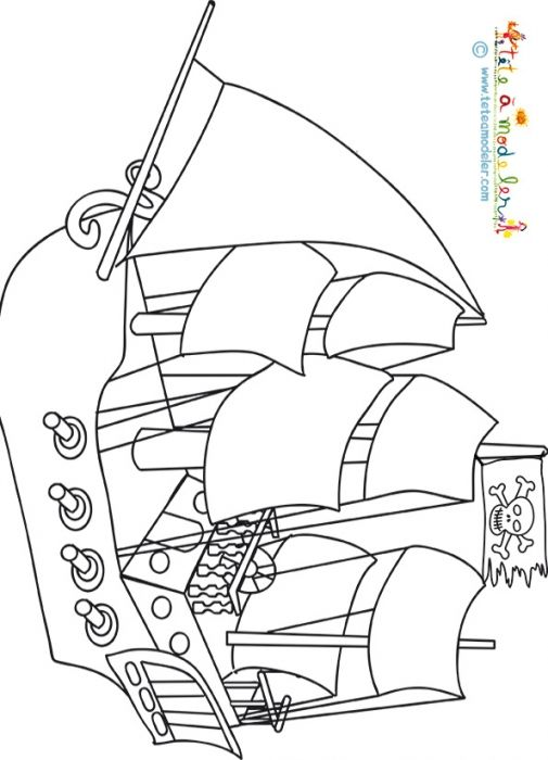 Coloriage d 39 un bateau pirate t te modeler pinterest coloriage coloriage - Coloriage tete a modeler ...