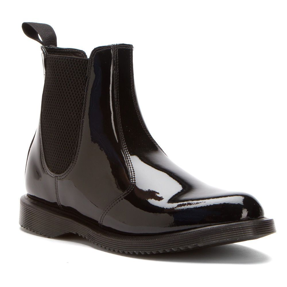 free shipping 76eaf ce78b Dr. Martens Women'S Flora Faun Chelsea Boot Black Patent ...