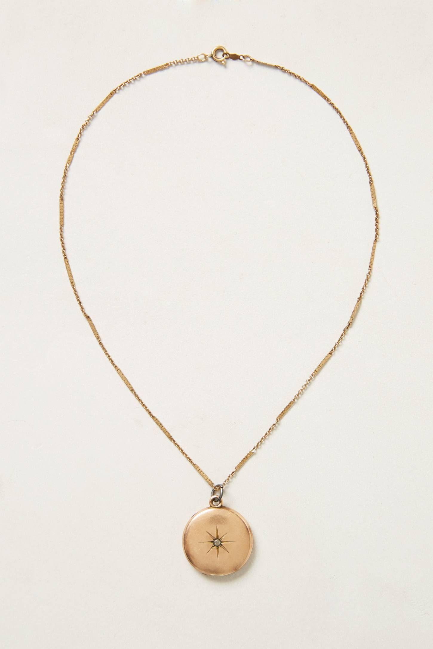 Anthropologie Antiqued Gold Pendant Necklace KJvtY