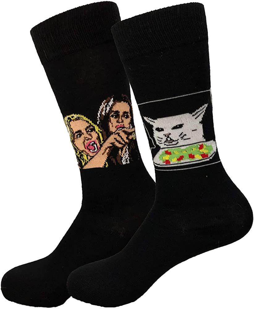 Balanced Co. Woman Yelling at Cat Meme Dress Socks Funny Socks Crazy Socks Casual Cotton Socks