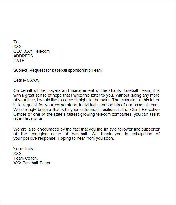 sponsorship letter for sports team sponsorship letter free download for word letters sports teams youth ...