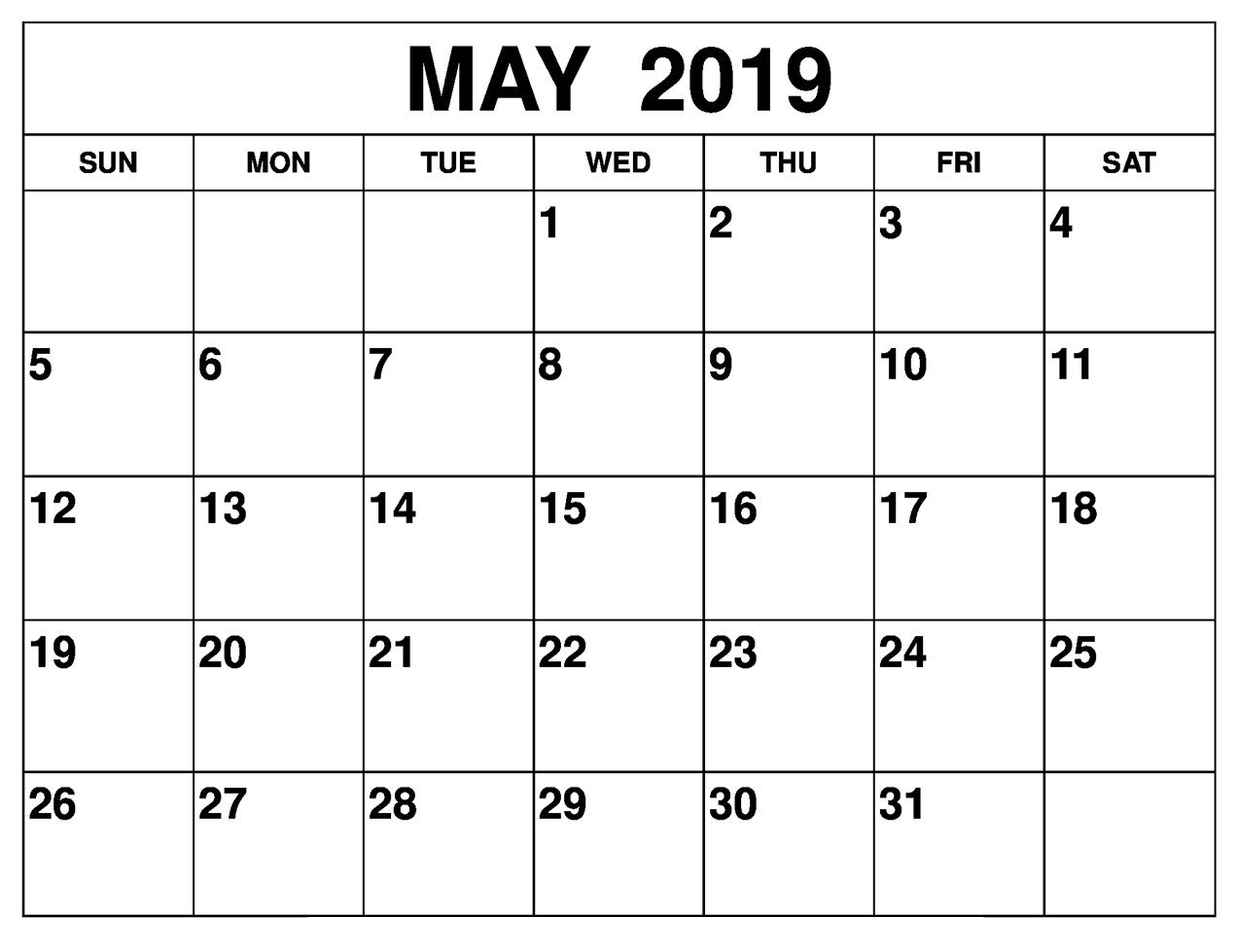 Printable May 2019 Calendar Editable Printable Calendar Template