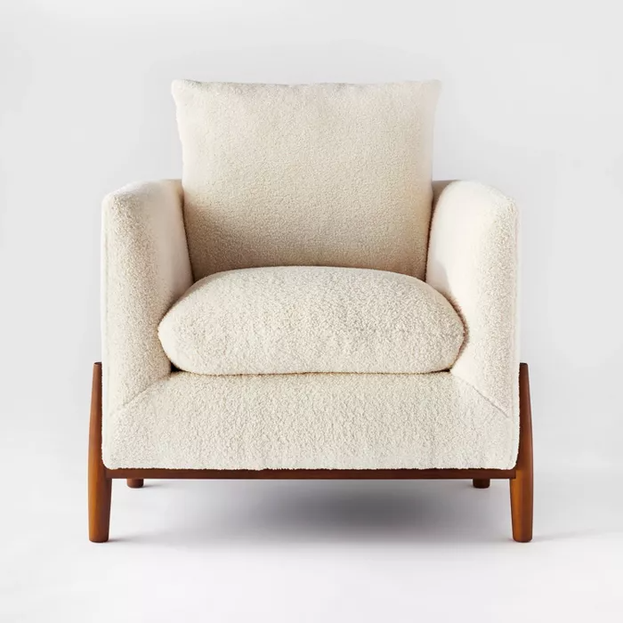 Elroy Sherpa Accent Chair With Wood Legs Cream Threshold Designed With Studio Mcgee Accent Chairs Wood Legs Trending Decor