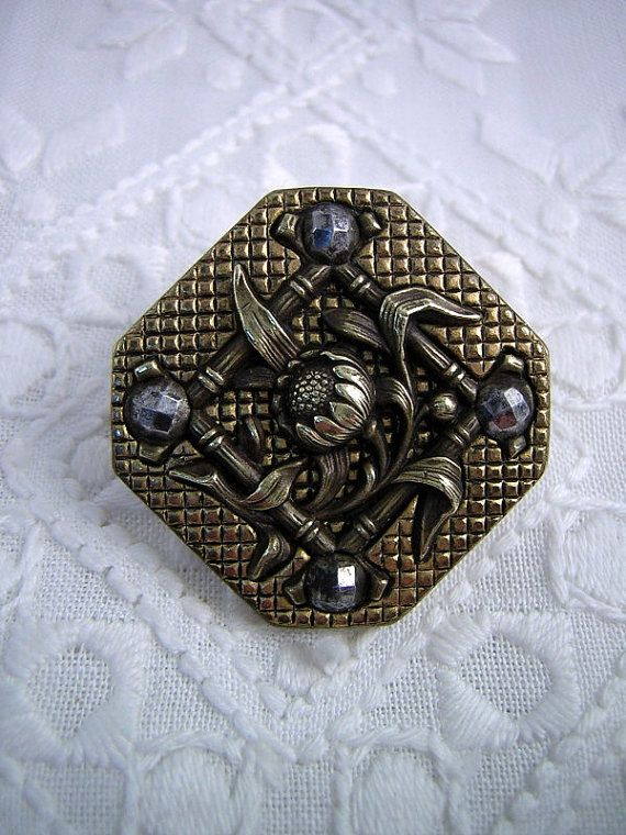 Desireable BUTTON: Large Size Unusual Square Shape by Buttongal