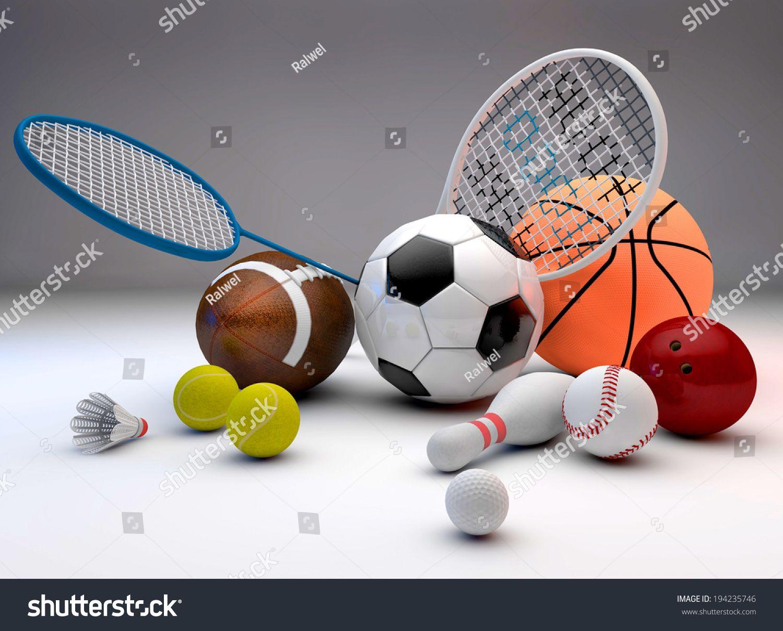 Assorted Sports Equipment Including A Basketball Soccer Ball Tennis Ball Baseball Tennis Racket Football Birdie Ba Soccer Tennis Racket Sports Equipment
