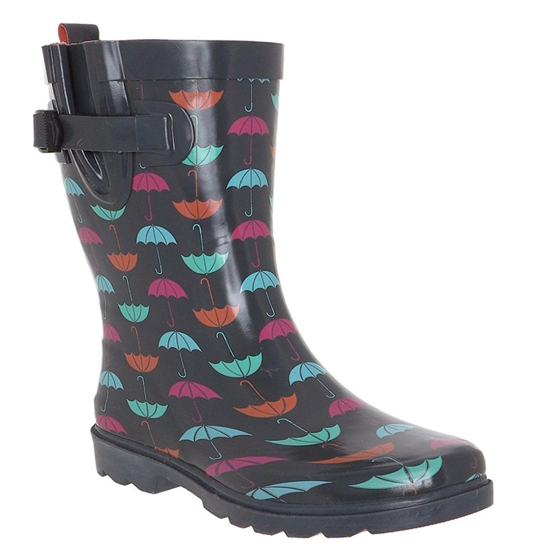 Capelli New York Ladies Umbrella Printed Short Rain Boot