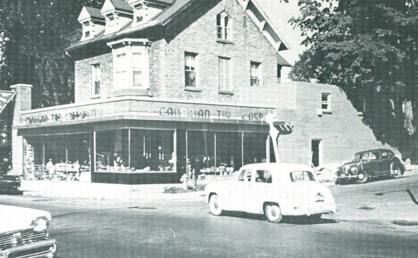 Original location of canadian tire store in old stone house on the corner of king st east and clarissa street