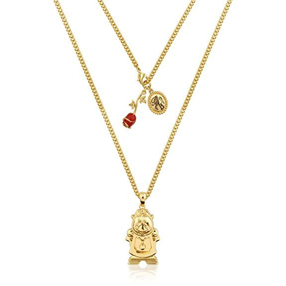 Disney Couture beauty & The Beast dorato grande Tockins ciondolo collana: Amazon.it: Gioielli