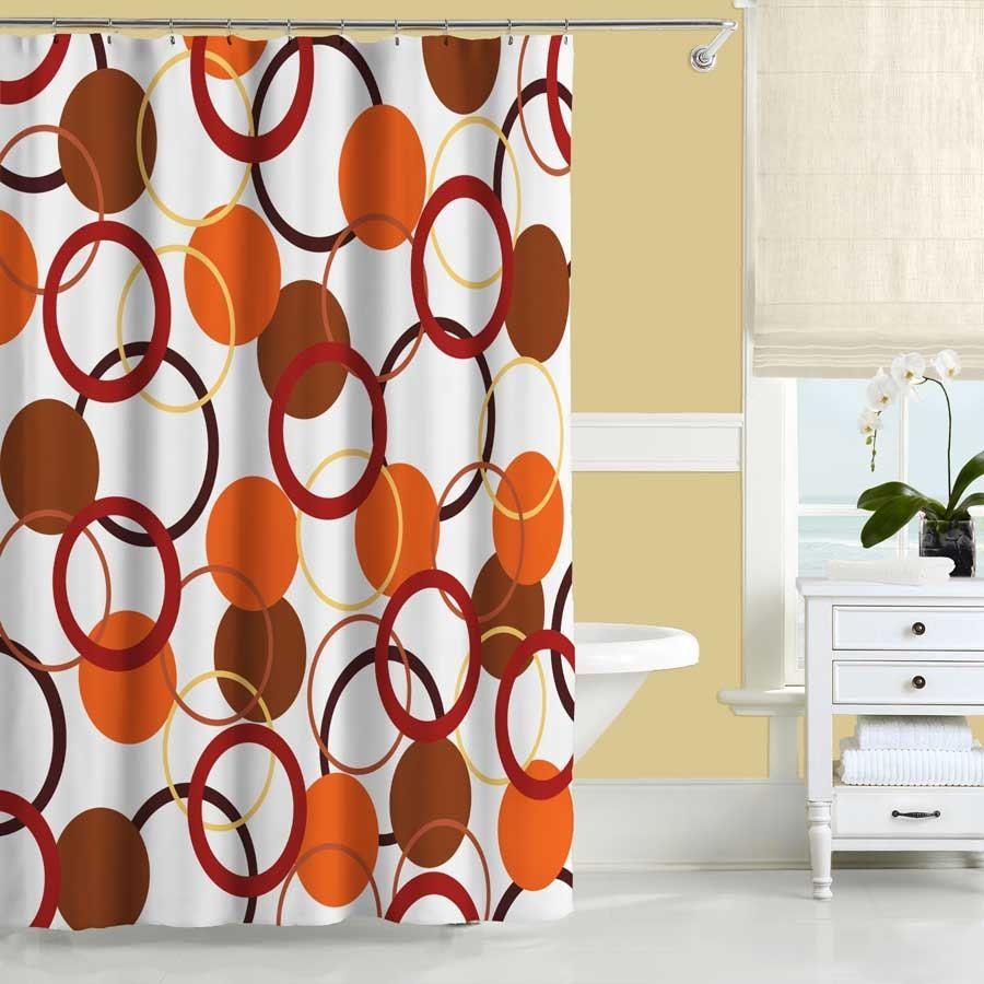 Burnt Orange Bathroom Shower Curtains