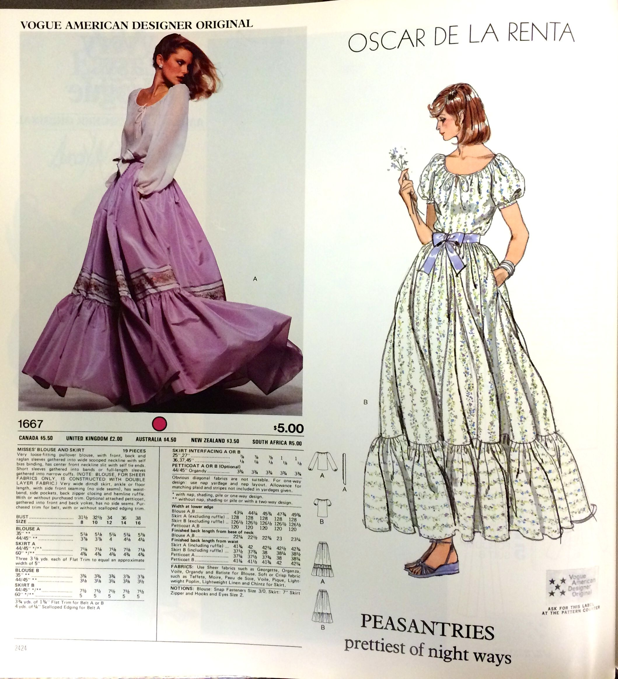 Oscar De La Renta Sewing Pattern For Vogue Patterns C 1970s