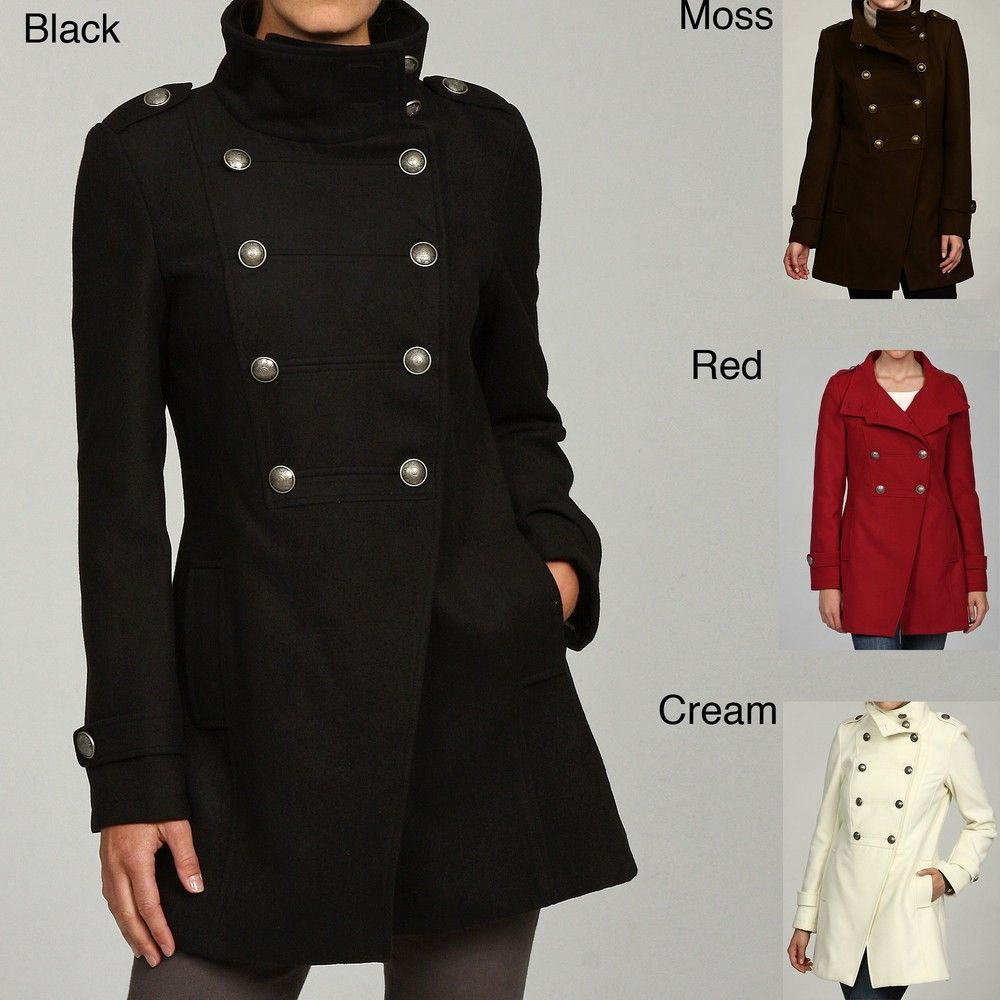 Women Retro Military Coat Double Breasted Wool Blend Jacket Outdoor Slim Fashion