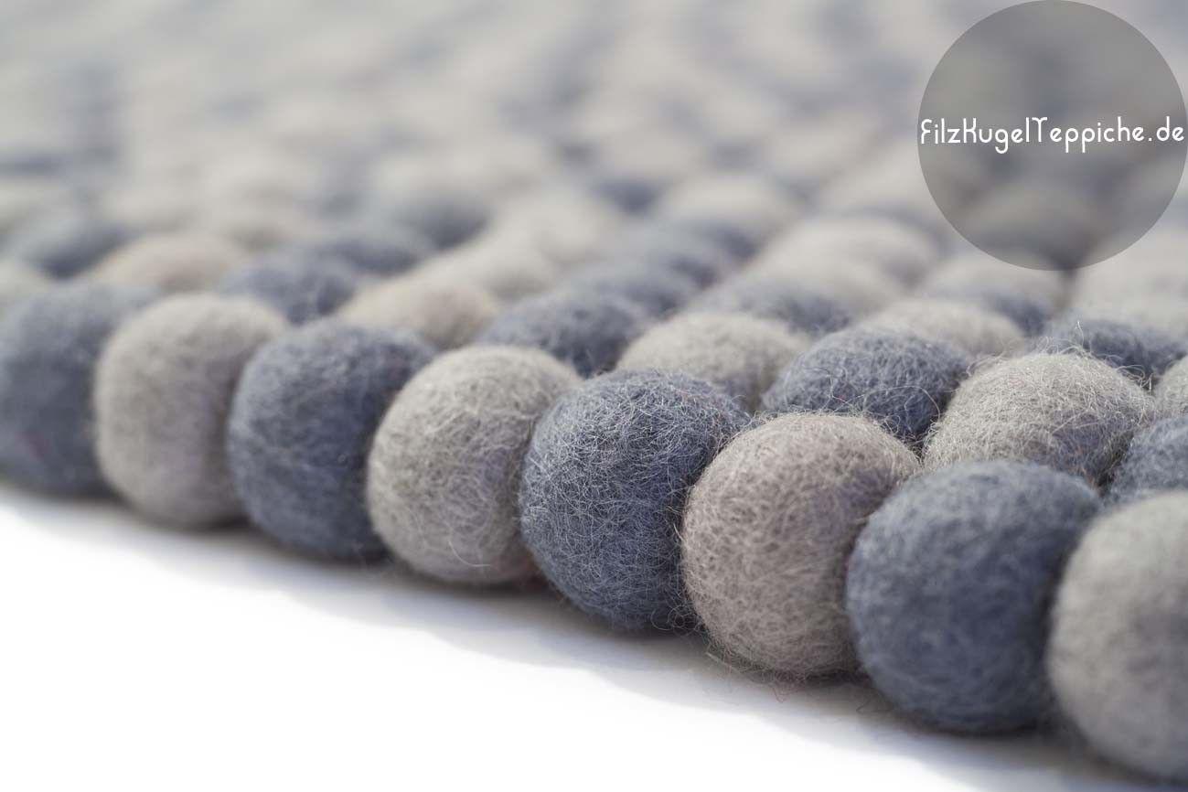 Filz Kugel Teppich Double Grey Wolle