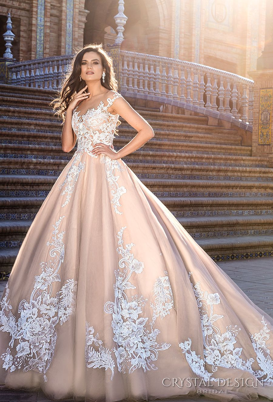 Beautiful Wedding Dresses From The 2017 Crystal Design Collection Sevilla Bridal Campaign Wedding Inspirasi Ball Gown Wedding Dress Ball Gowns Wedding Quincenera Dresses [ 1326 x 900 Pixel ]