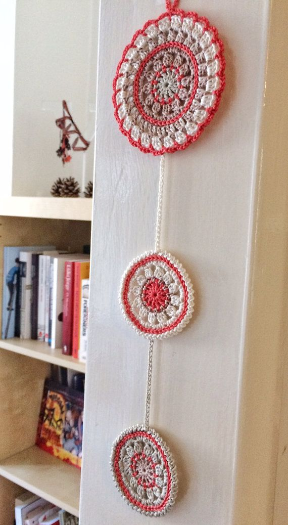 Nectarine and rafia mandala crochet wall pendant   Pinterest ...