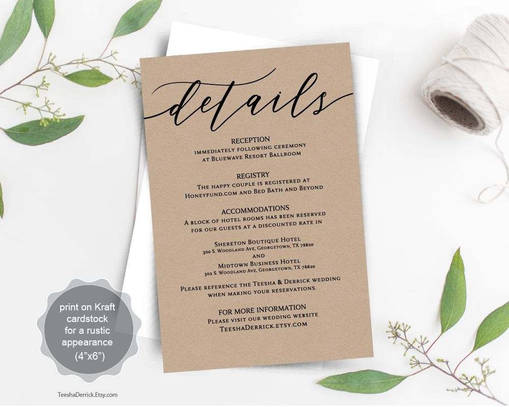 Wedding Details Card Template Printable Wedding Details Card Instant Download WI114 Black Dots Wedding Enclosure Card