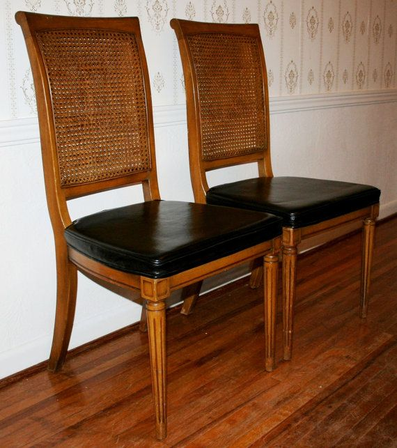 Pair Of Vintage Ethan Allen Classic Manor Collection Caned