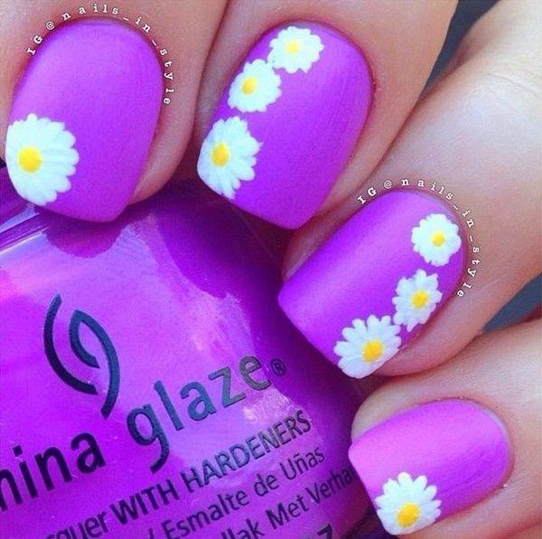 nice 45 Easy Flower Nail Art Designs for Beginners | Nail Art ...