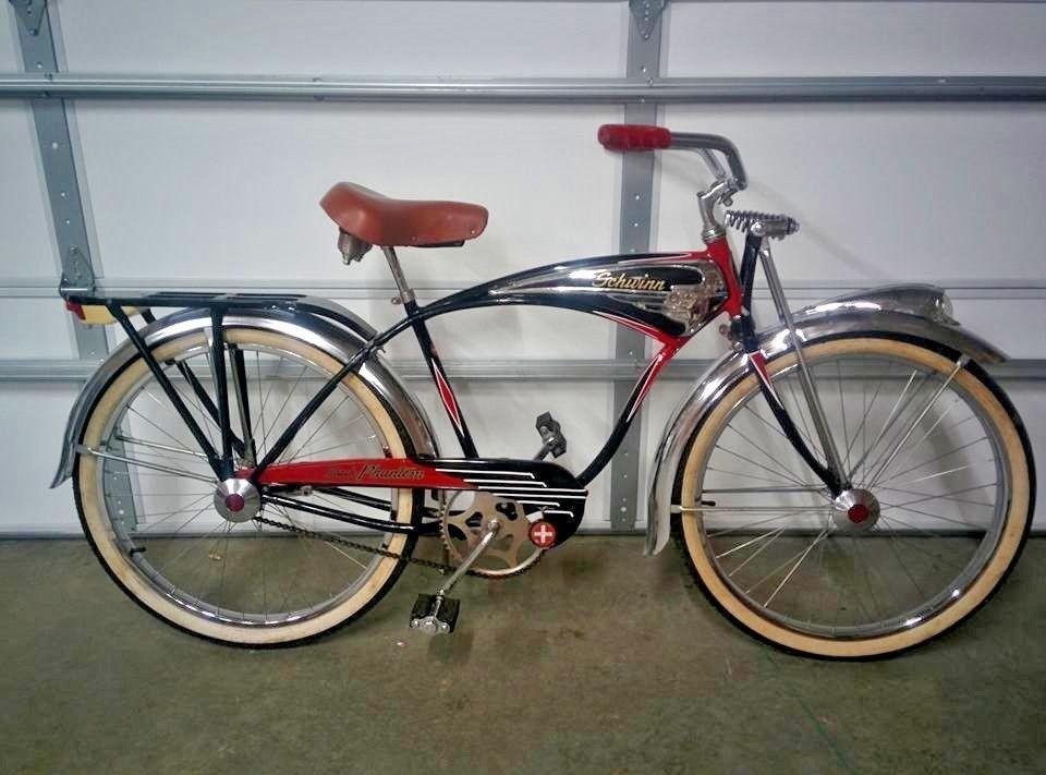 Vintage 1951 1957 Schwinn Black Phantom Bicycle Bike Serial Number B98355 Schwinn Vintage Bicycles Bicycle Schwinn