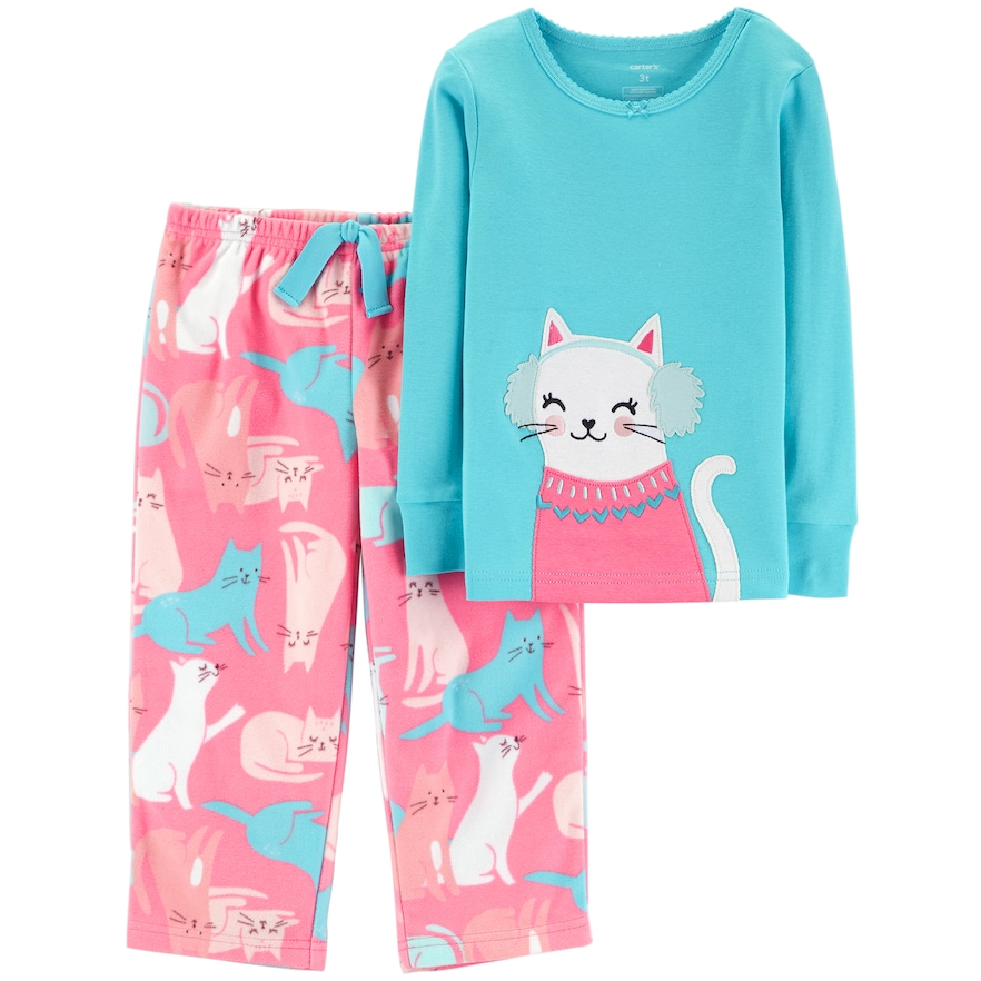 a5e08c685 Toddler Girl Carter s Top   Microfleece Bottoms Pajama Set
