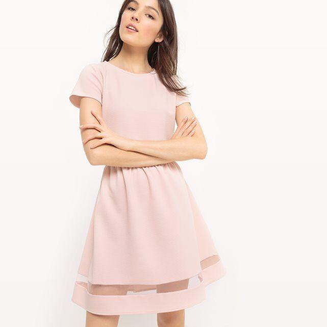 48305f82e Vestido liso rosa pastel de manga corta MADEMOISELLE R