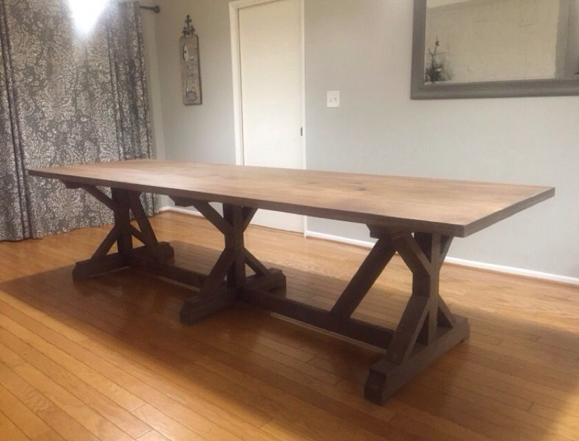 Rustic Farmhouse Table This Is One Of A Kind Triple Base 10ft Long Farmhouse Table Farmhouse Table Plans Farmhouse Table With Bench Long Dining Room Tables