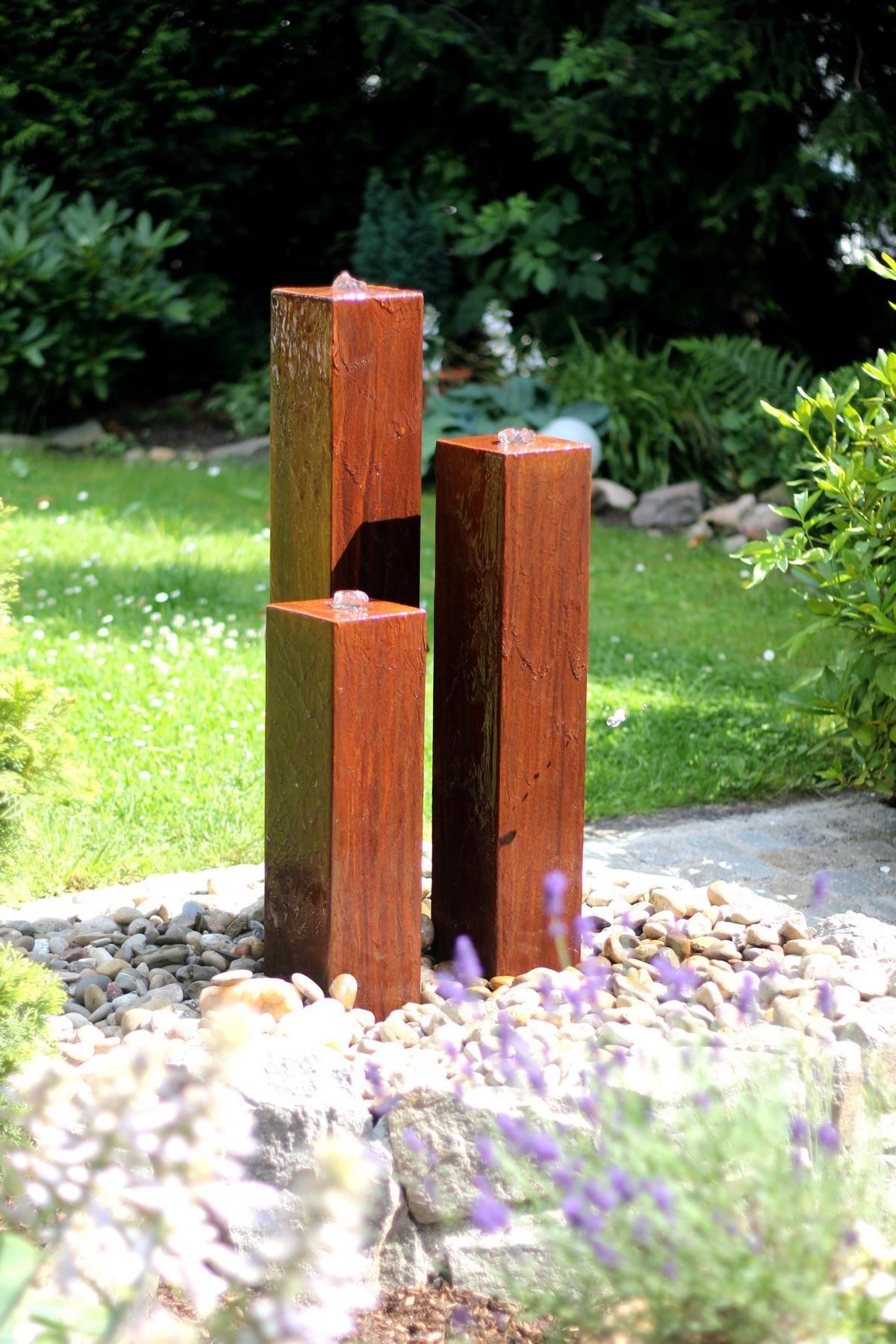 cortenstahl 3er s ulen 100 modernes edelrost design gartenbrunnen made in germany by. Black Bedroom Furniture Sets. Home Design Ideas