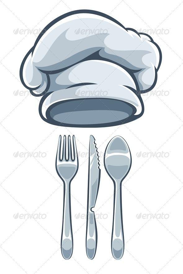 Kitchen Utensils Fork Knife Spoon And Cooks Cap | Kitchen utensils