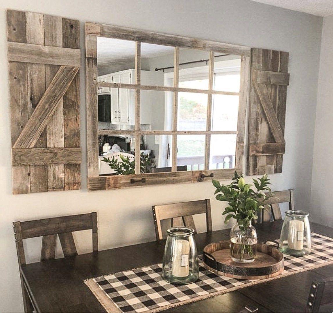 46x 36 Farmhouse Wall Decor Window Mirror Rustic Etsy Farmhouse Decor Living Room Farmhouse Dining Room Dining Room Wall Decor
