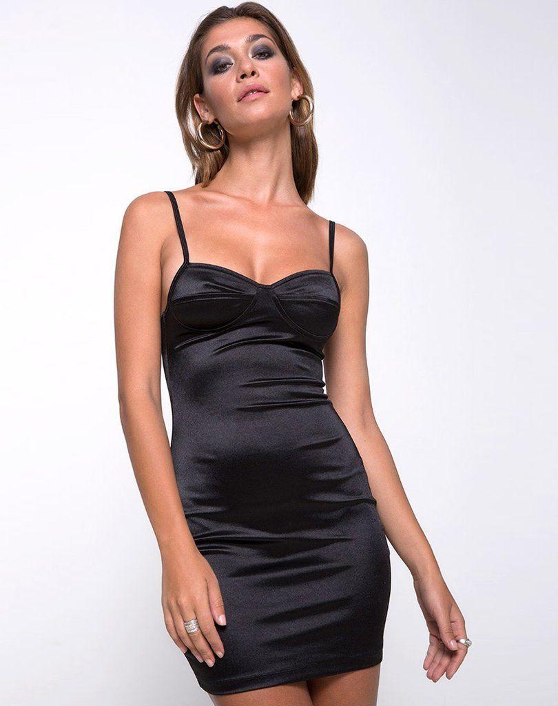2ea4045c524 Leta Bodycon Dress in Satin Black by Motel