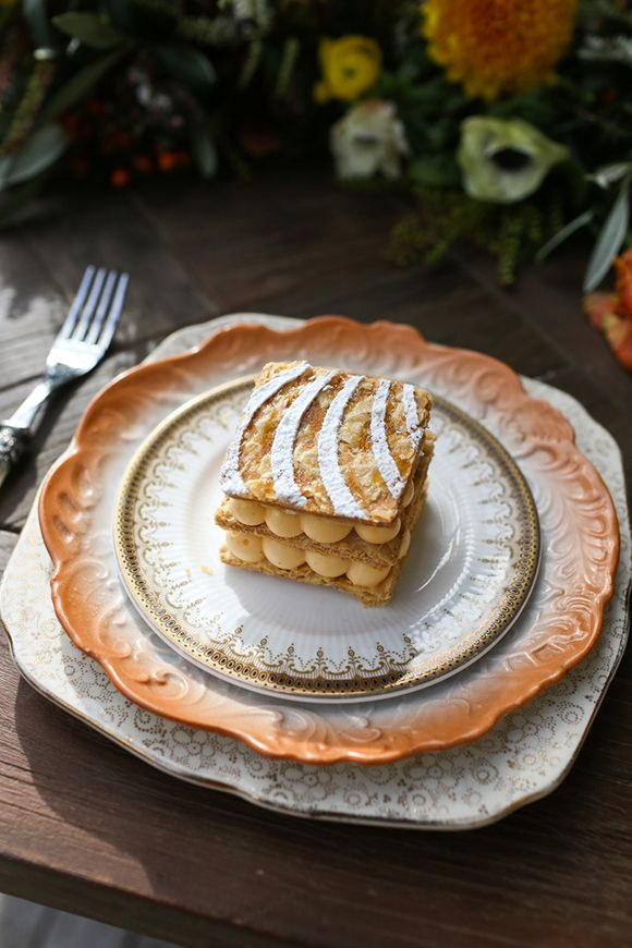Elegant Mille-Feuille (Napoleon) dessert in a fall inspired tablescape