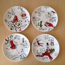 Lenox HOLIDAY 12 Days of Christmas 8\  Dessert Plates - Set of 4 - NEW & Lenox HOLIDAY 12 Days of Christmas 8\