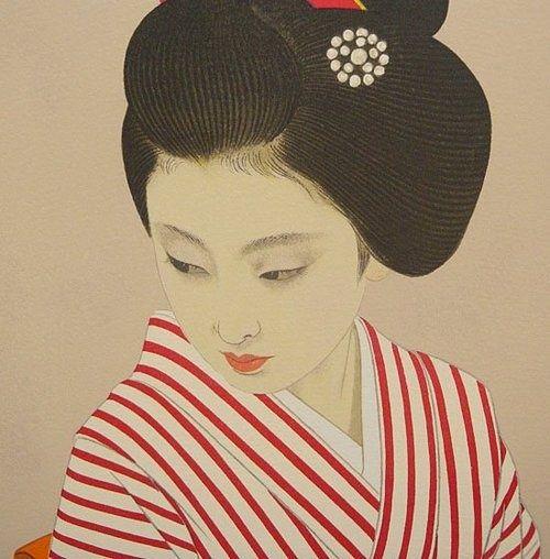 Shimura Tatsumi, bijin-ga woodblock print (c. 1950s)