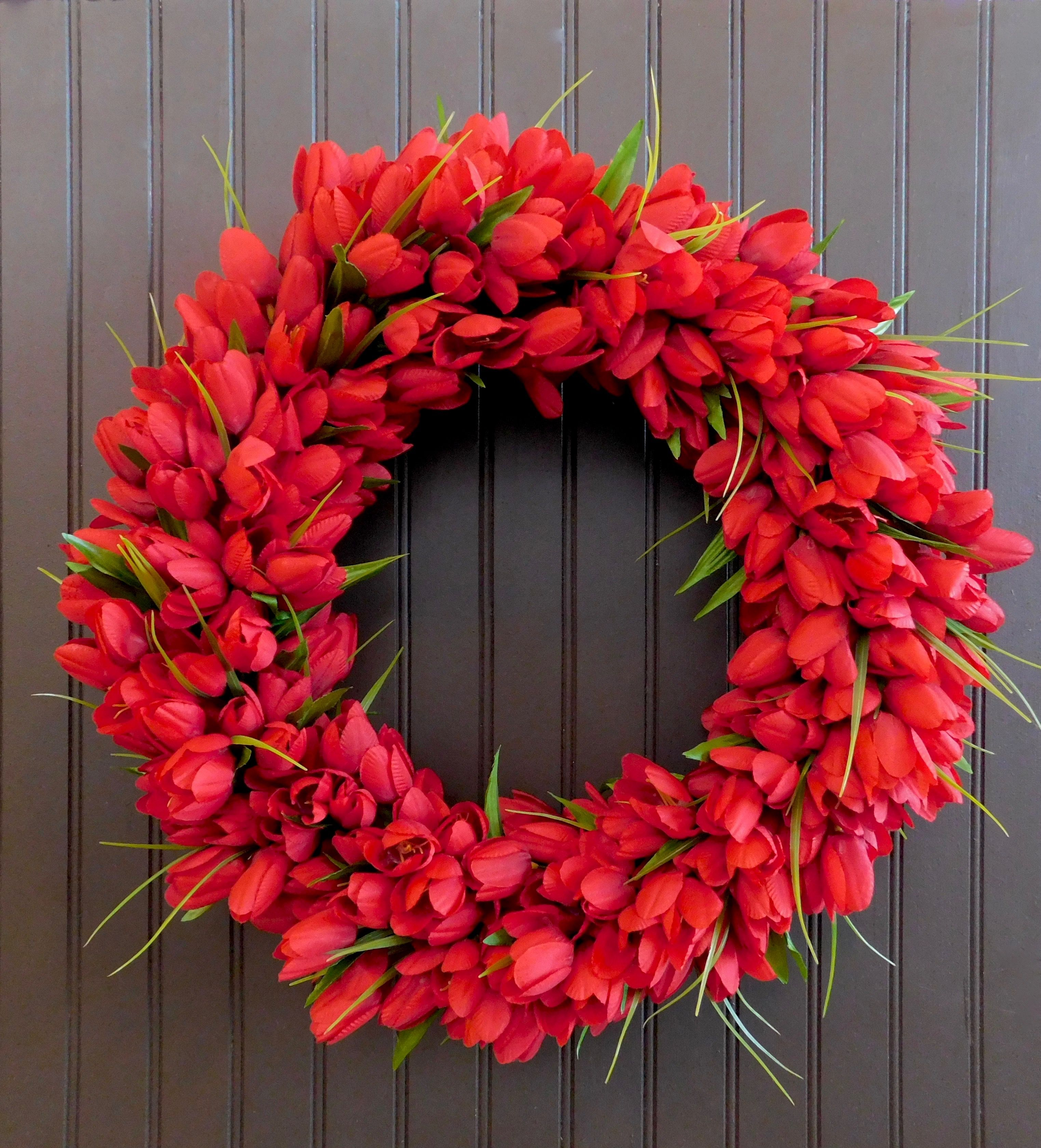 Red Tulip Wreath Valentine Day Wreath Red Wreath Valentine Day Wreaths Spring Wreath