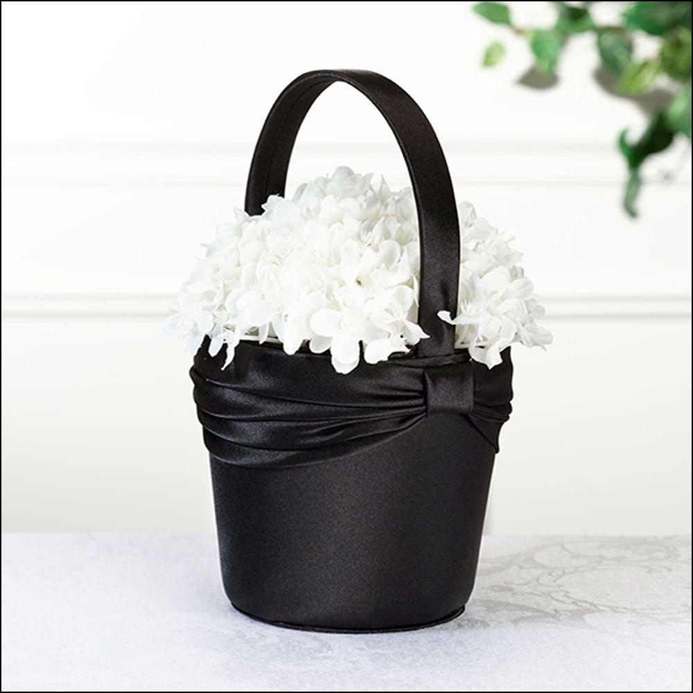 Flowergirl Basket In Black Satin And Finished With A Black Sash