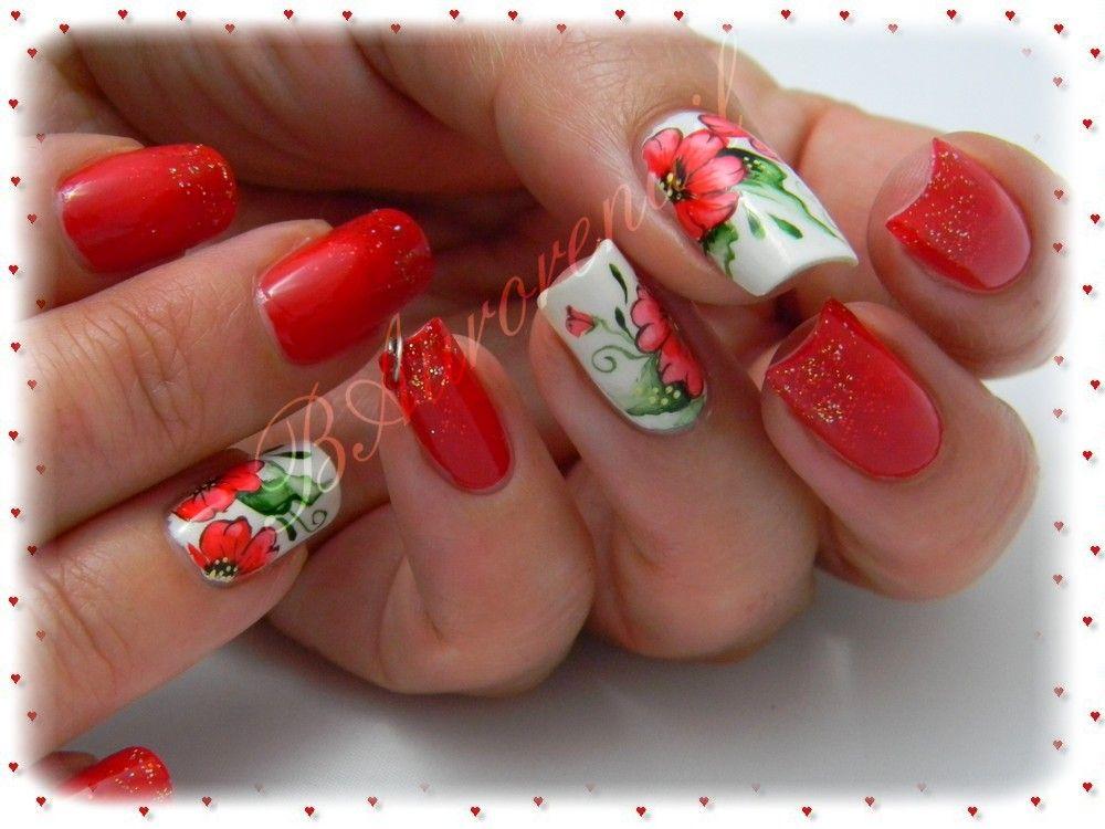 Nail Art Fleur Rouge En Aquarelle Cheveux Et Ongles Ongles