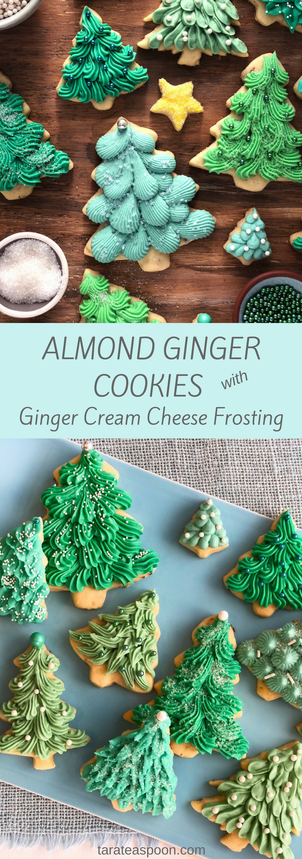 Almond Ginger Cookies with Cream Cheese Frosting #cookies