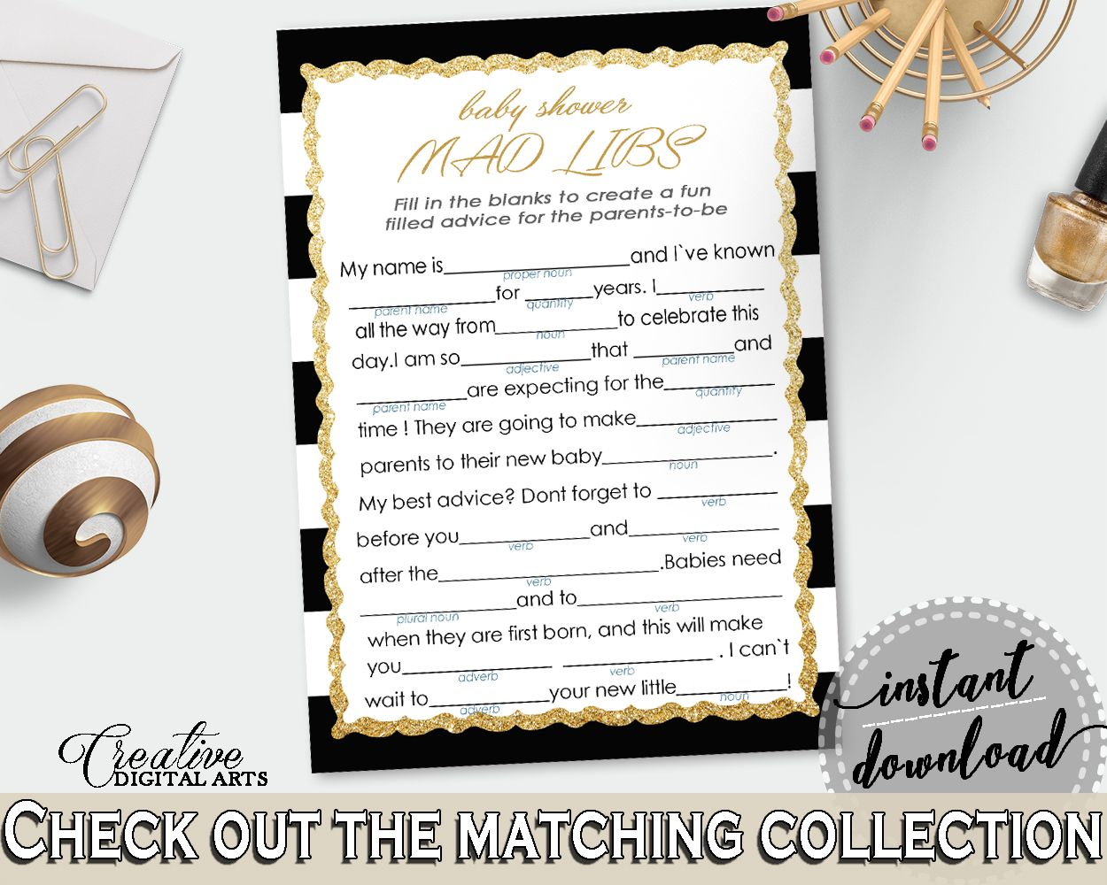 Black Gold Mad Libs Baby Shower Gender Neutral Game