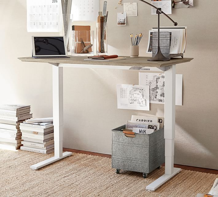 Pottery Barn Livingston Sit Standing Desk Home Office Decor Sit