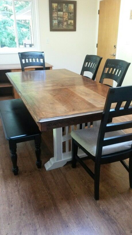My Dining Table Diy Refinish Dark Walnut Table Top With Heirloom White Table Legs And Black Painted Chairs And Diy Dining Table Walnut Table Top Dining Table