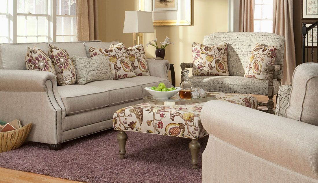 Contemporary style light color fabric print sofa, chairs ...