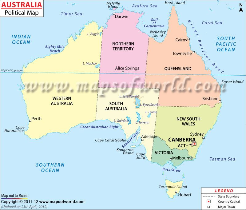 #Map Of #Australia Shows International Boundary, State Boundaries With  Their Capital Cities.