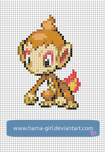 Kawaii Girl Pixel Art Grid